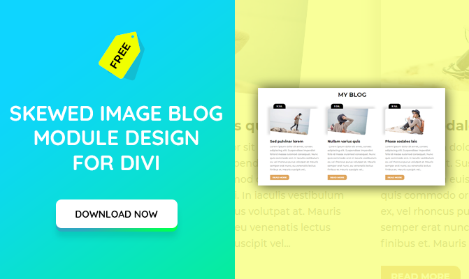 Skewed Image Blog Module Section