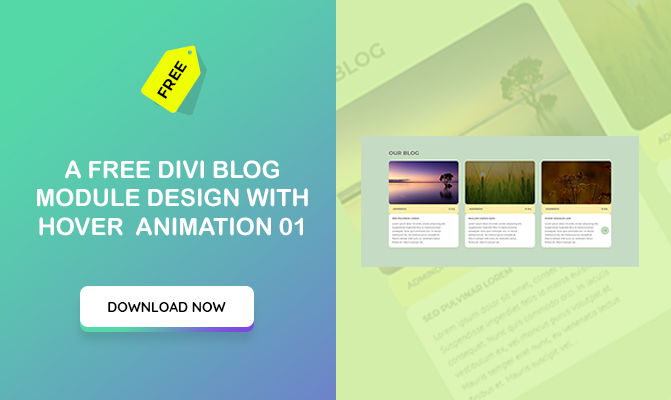 A free Divi blog module design with hover animation 01