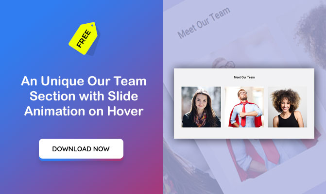 An Unique Our Team Section with Slide Animation on Hover