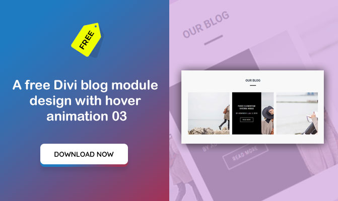 A free Divi blog module design with hover animation 03