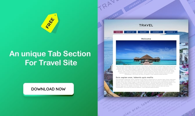 An unique Tab Section For Travel Site