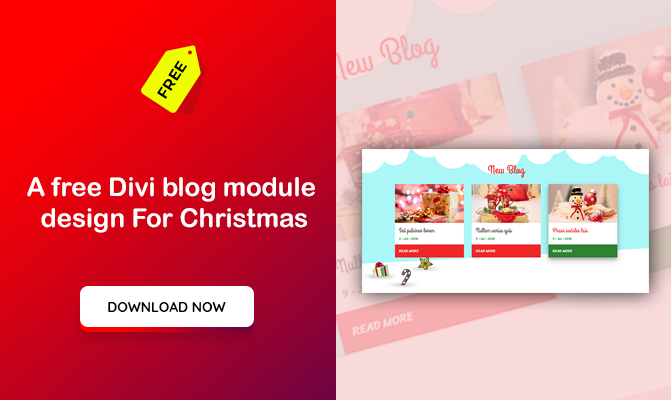 A free Divi blog module design For Christmas