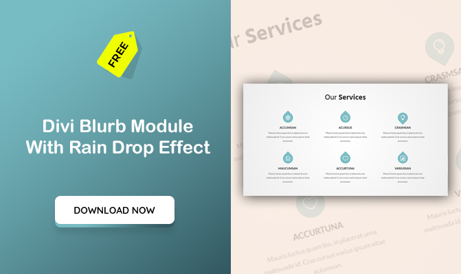 Divi Blurb Module With Rain Drop Effect