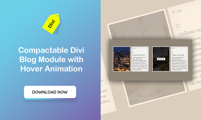 Compactable Divi Blog Module with hover Animation
