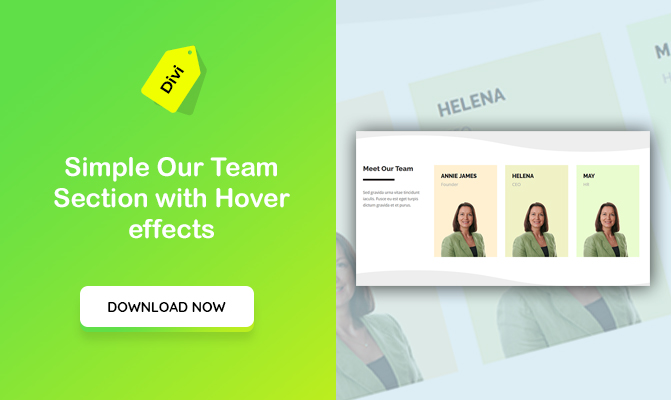 Simple Our Team Section with Hover Effects