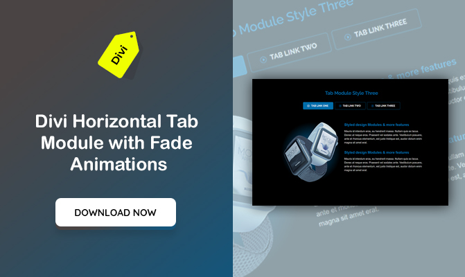Divi Horizontal Tab Module with Fade Animations