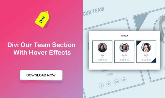 Divi Our Team Section With Hover Effects