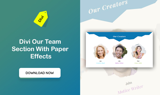 Divi Our Team Section With Paper Effects