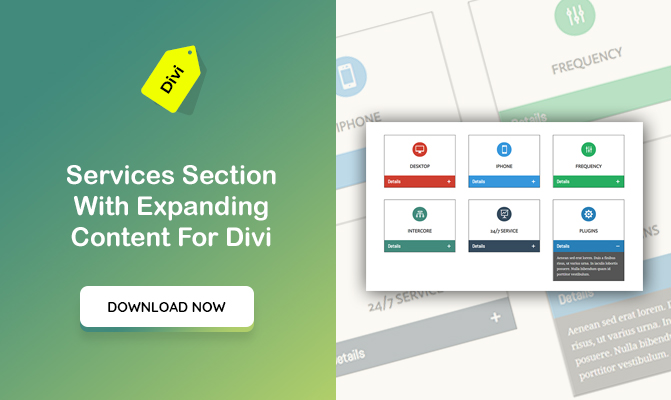 Services Section With Expanding Content For Divi