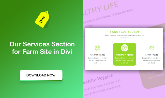 """Our Services"" Section for a Farm Site Design in Divi"