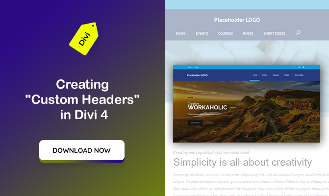 "Download a unique ""Custom Header"" made in Divi 4"