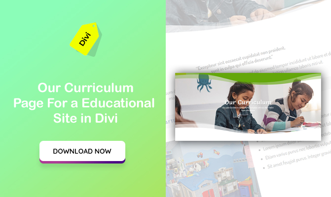 """Our Curriculum"" Section for a Educational Site Design in Divi"