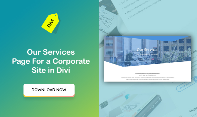 """Our Services"" Section Design for a Corporate Site in Divi"