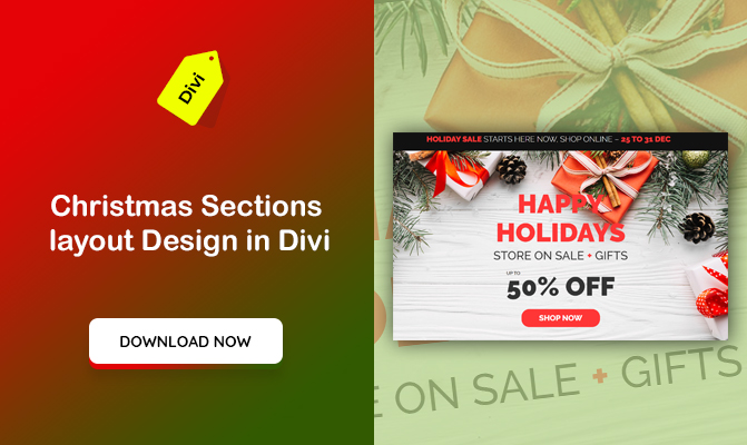 A Page Layout with Christmas Section Designs made in Divi