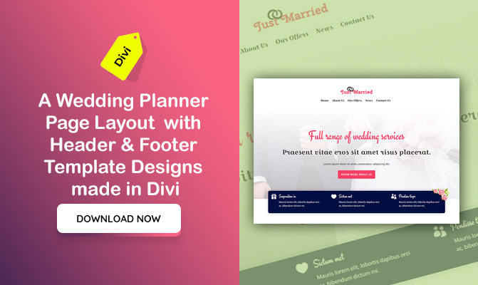 A Wedding Planner Page Layout  with Header & Footer Template Designs made in Divi