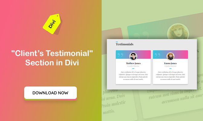 """Clients' Testimonials"" Section in Divi"