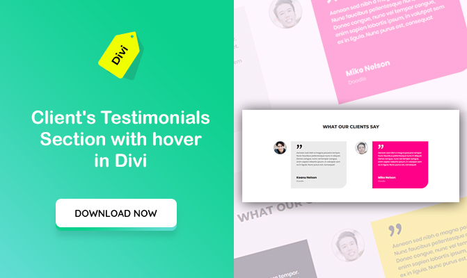 Client's Testimonials Section with Hover in Divi