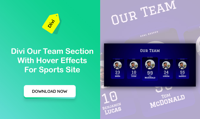 Divi Our Team Section With Hover Effects For Sports Site