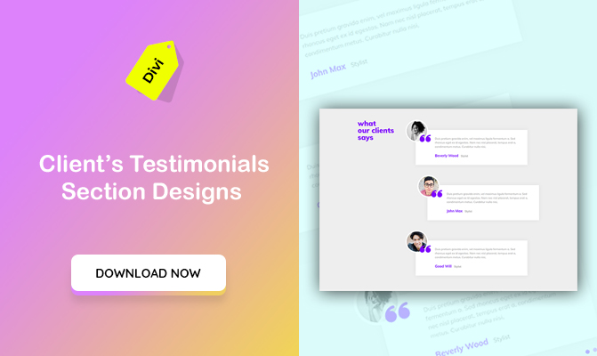 Client's Testimonials Section Designs