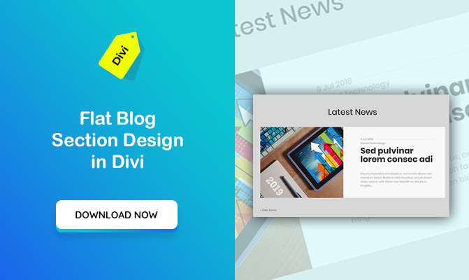Flat Blog Section Design with Blog Module in Divi