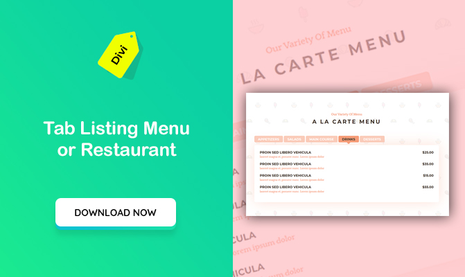 Tab Listing Menu For Restaurant