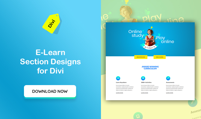e-learn, A Online Teaching Concept Section Designs for Divi