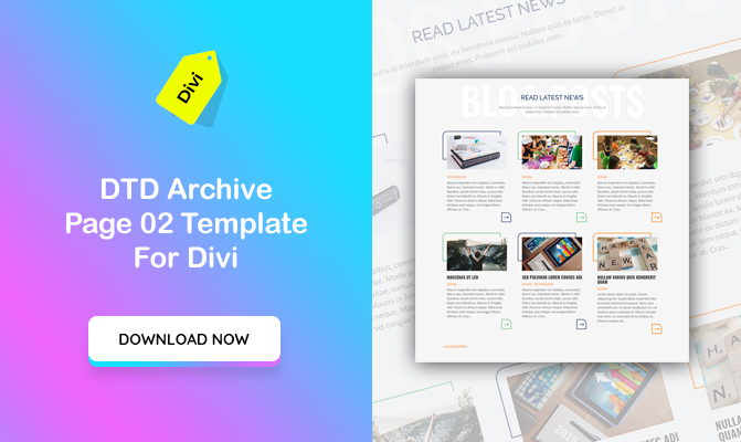 DTD Archive Page Design 02 Template for Divi