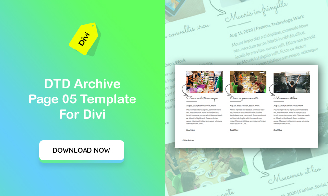 DTD Archive Blog Posts Design 05 Template for Divi