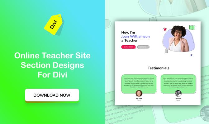 Online Teacher Site Section Designs